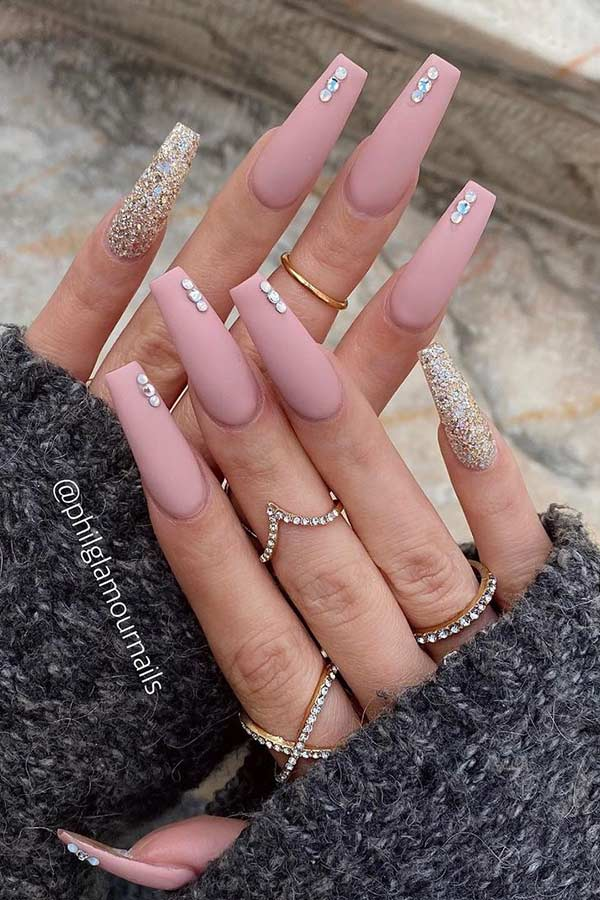 Matte Nude Coffin Nails