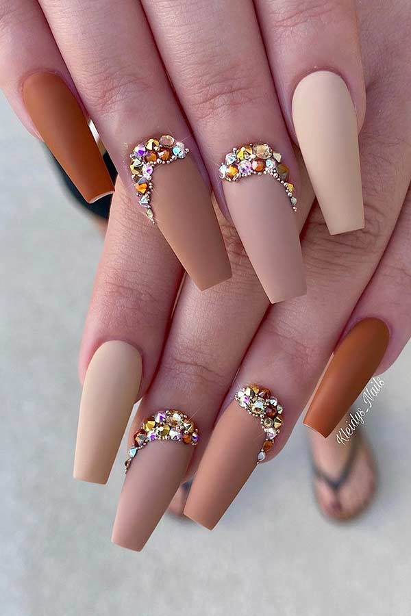 Matte Nude Nails with Rhinestones