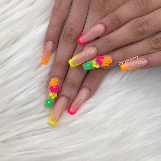 Nude Coffin Nails with Colorful Tips