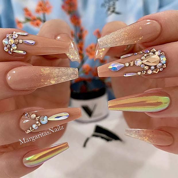 Nude Coffin Nails with Glitter Rhinestones and Chrome