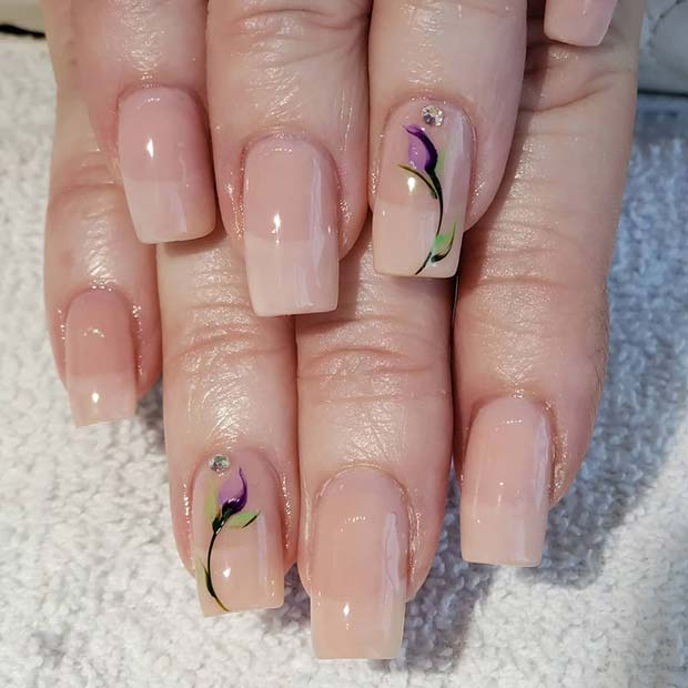 Nude Nail Color and Floral Art