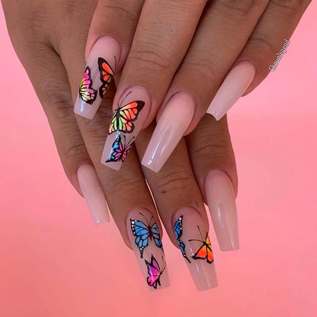 Nude Nails with Bold Butterflies