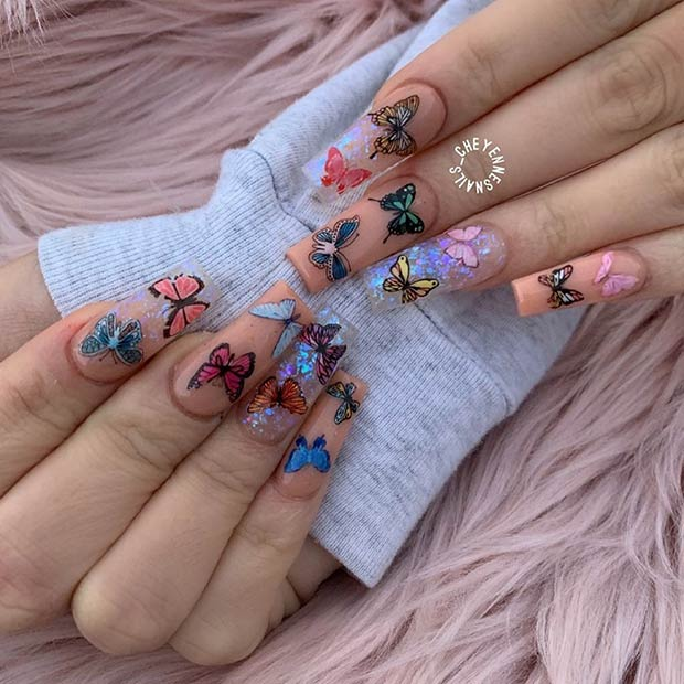 Nude Nails with Colorful Butterflies
