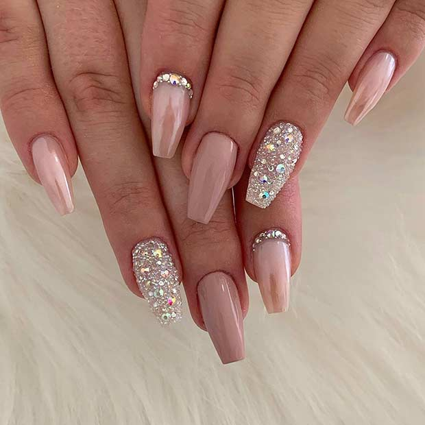 Nude Nails with Cuticle Rhinestones
