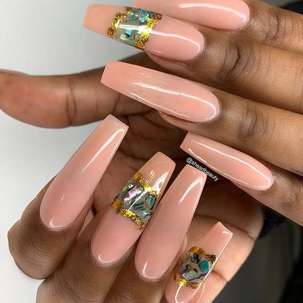 Nude Nails with Geode Nail Art