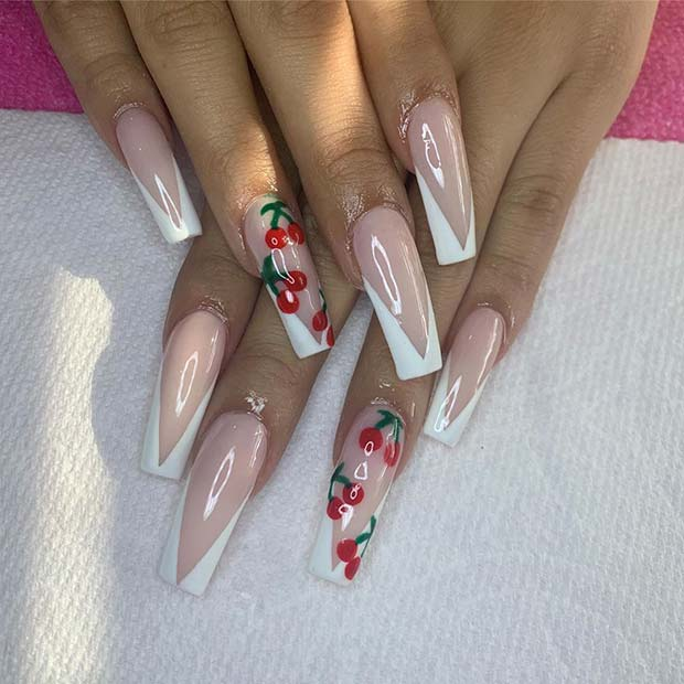 Nude Nails with V Tips and Cherries