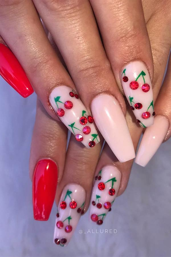 Nude and Red Cherry Nails