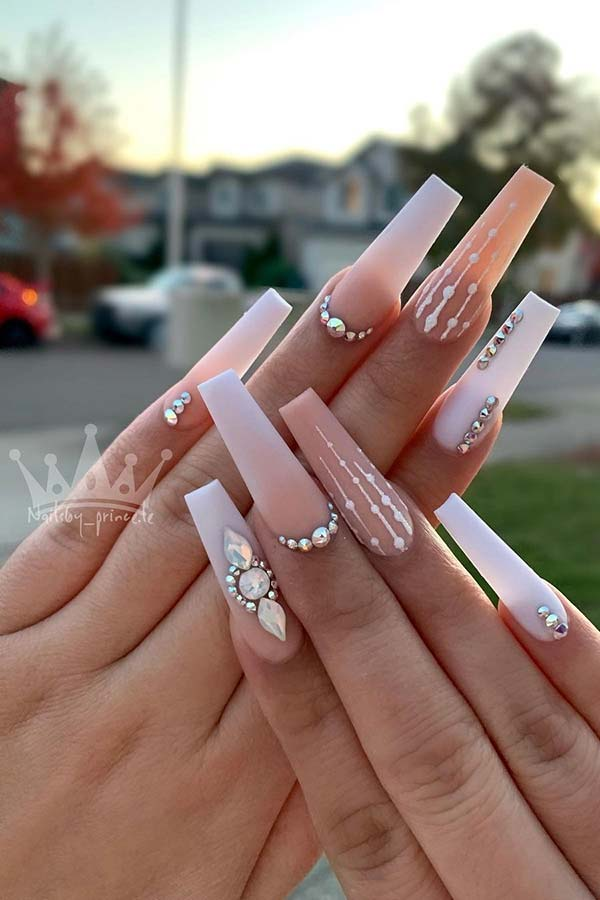 Nude and White Coffin Nails with Rhinestones