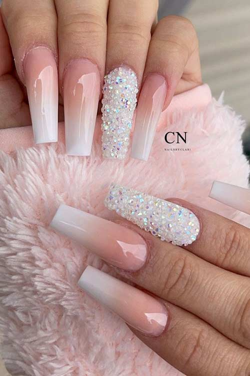 Nude and White Coffin Nails