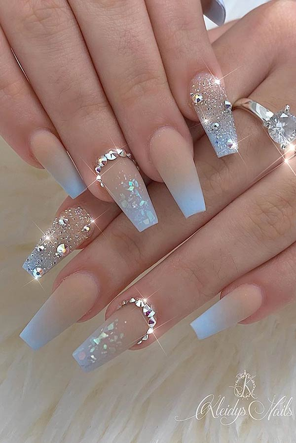 Nude to Light Blue Ombre Nails