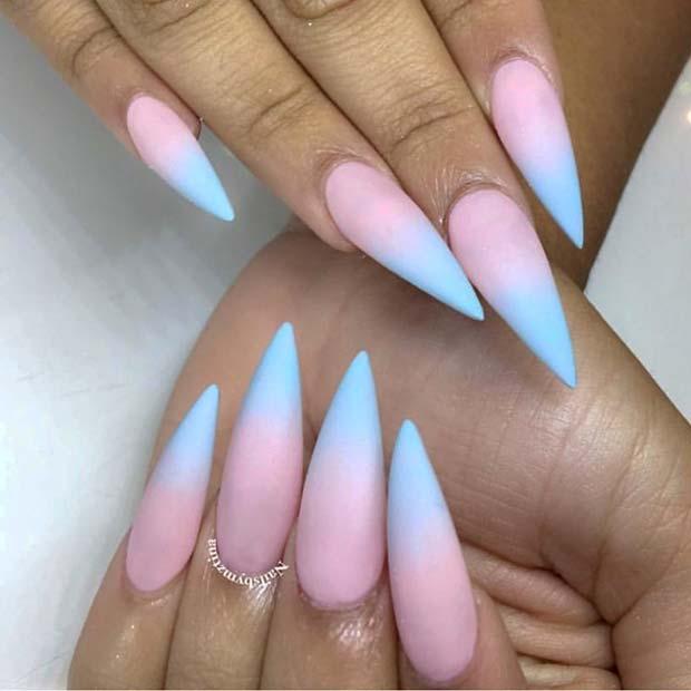 Matte, Pastel Ombre Stiletto Nails