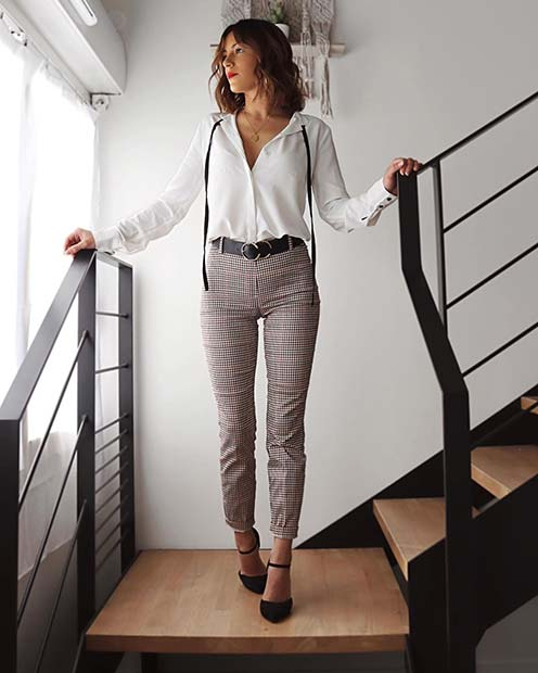 Patterned Trousers with a Blouse