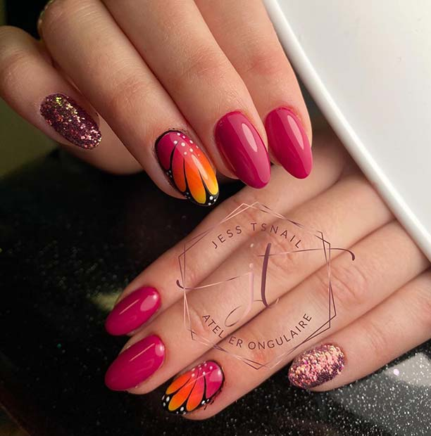 Pink Nails with Butterfly Nail Art and Glitter
