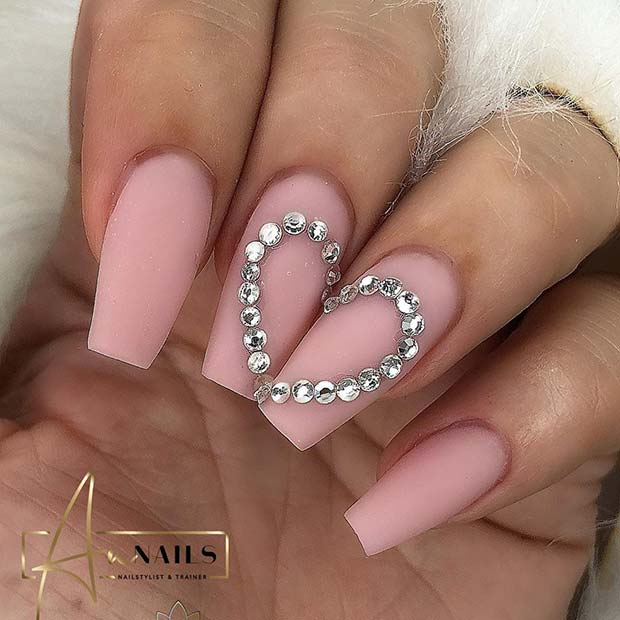 Pink Nails with a Rhinestone Heart