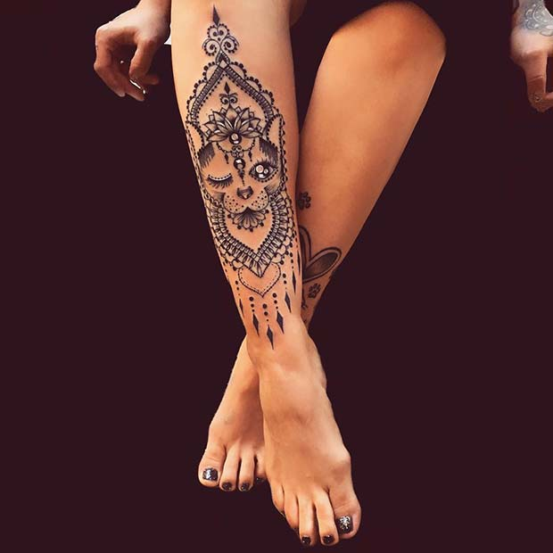 Pretty Cat Tattoo Design