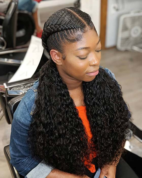 Pretty Feed In Braids with Beautiful Curls