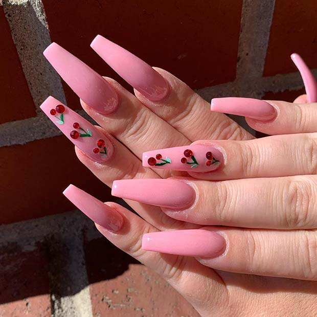 Pink Coffin Nails with Cherries
