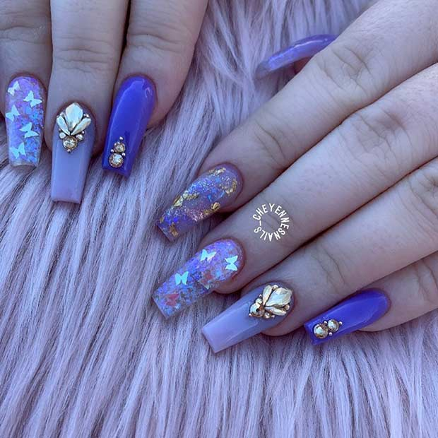Purple Coffin Nails with Sequin Butterflies