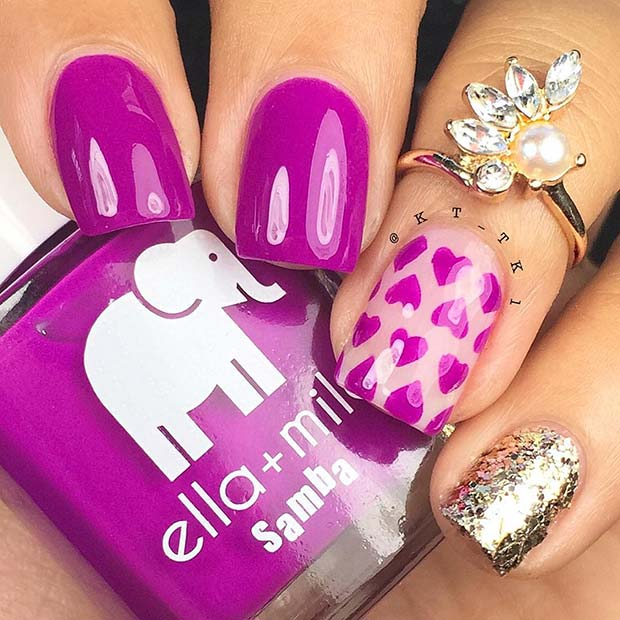 Purple Nails with Hearts and Glitter