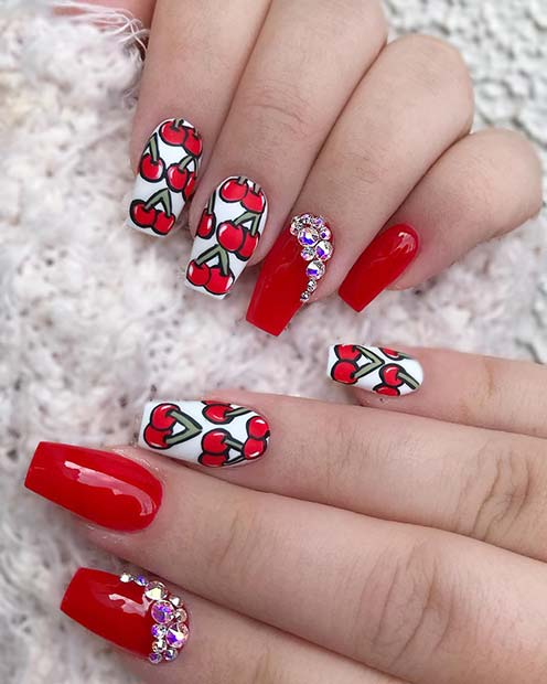 Red Nails with Bold Cherry Art and Rhinestones