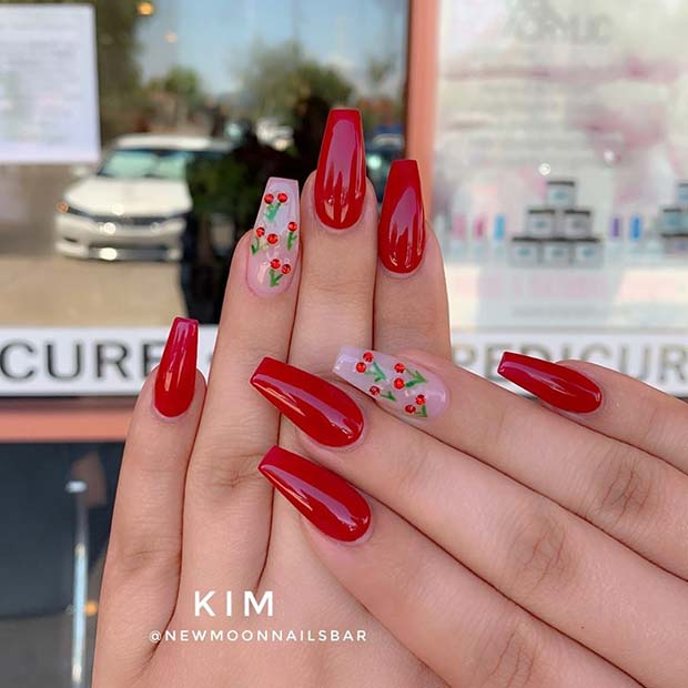 Red Nails with a Cherry Accent Nail