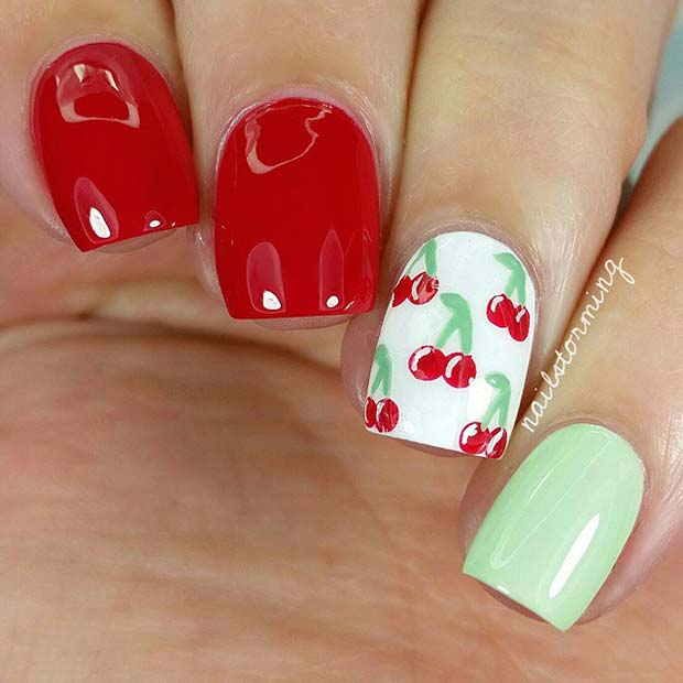 Red, White and Green Nail Design