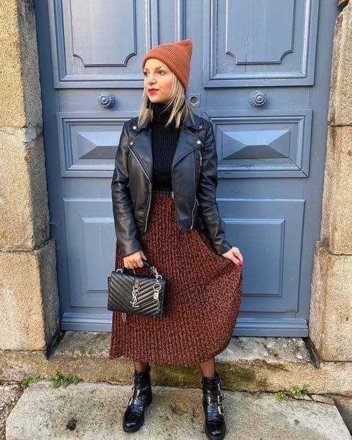 Stylish Midi Skirt Outfit Idea