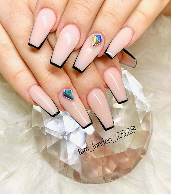 Stylish Nails with Black Tips and a Rhinestone
