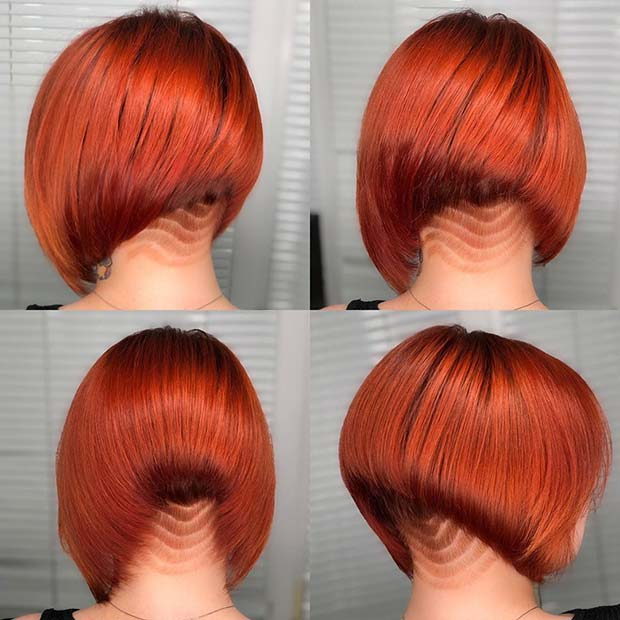 Stylish Red Bob with a Patterned Undercut