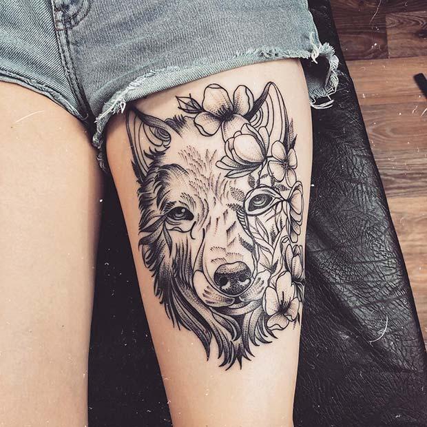 Stylish Wolf Leg Tattoo