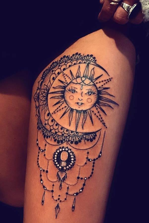 Sun and Moon Leg Tattoo Idea