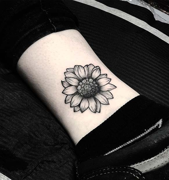 Sunflower Small Ankle Tattoo