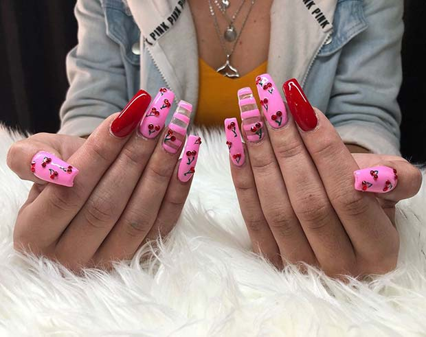 Trendy Cherry Nails