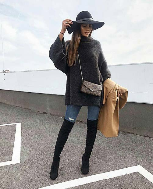 Trendy Fall Outfit with a Hat