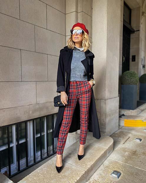 Trendy Tartan Trousers Outfit Idea