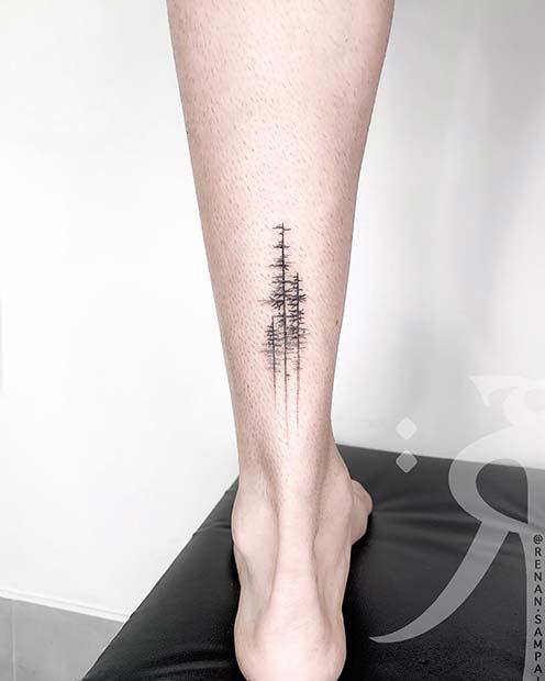 Trendy Trees Leg Tattoo Idea