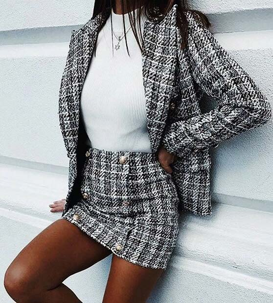 Tweed Skirt and Blazer Outfit Idea