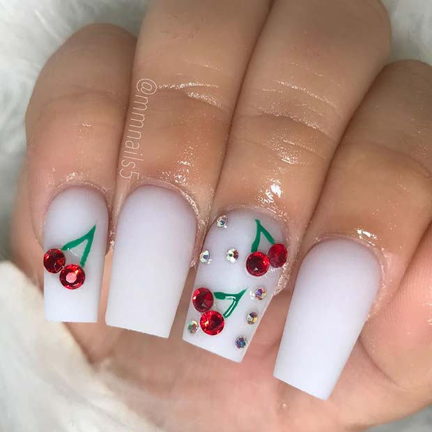 White Nails with Glam Cherry Design