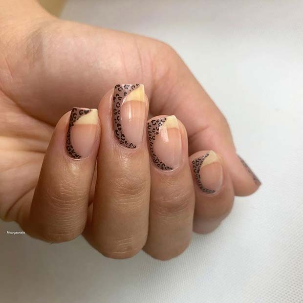 Wild Leopard Mani with Nude Tips