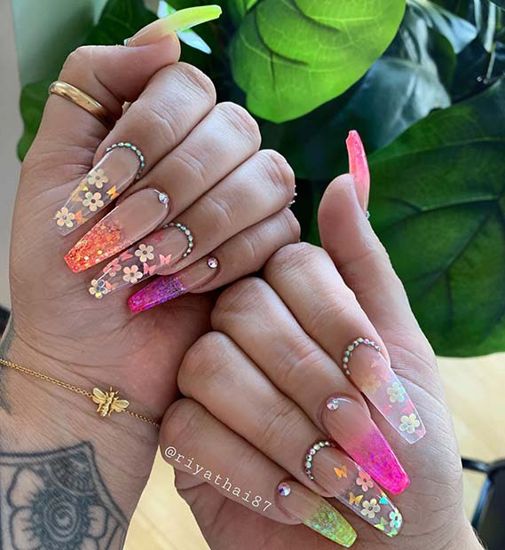Amazing Flower Mani for Coffin Nails