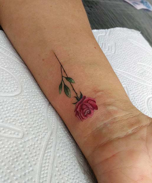 Beautiful Pink Rose Tattoo