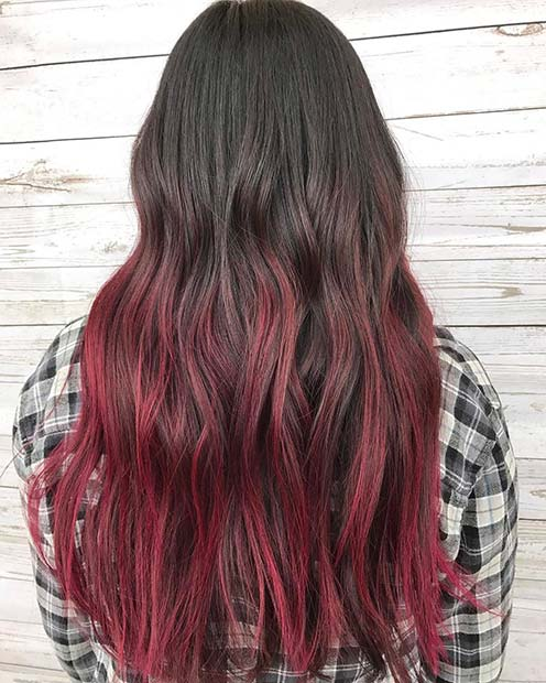 Black and Dark Red Ombre Hair