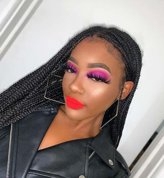 Bold Eye Makeup and Lip Color