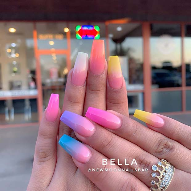 Bold Colorful Ombre Nails