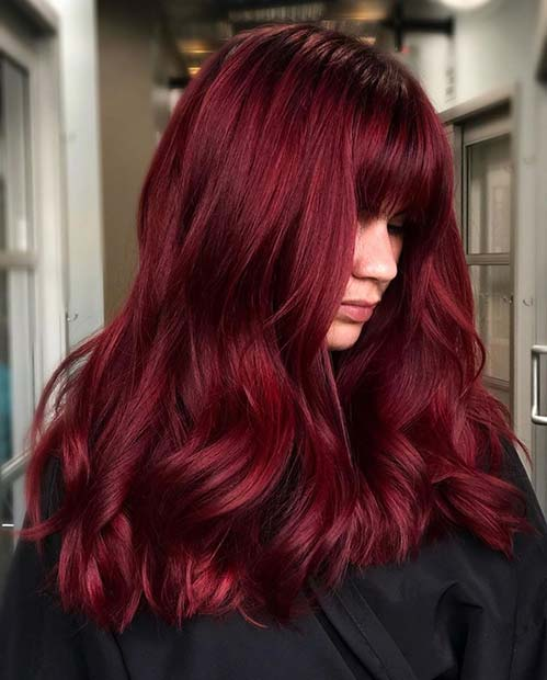 Bold Red Hair with Bangs