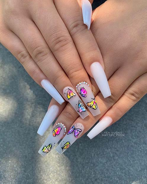 White Coffin Nails with Butterflies