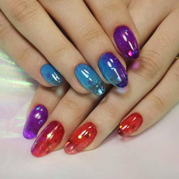 Bright Jelly Short Nails