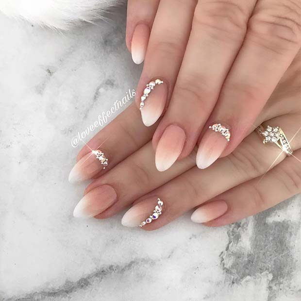 Baby Boomer Nails with Rhinestones
