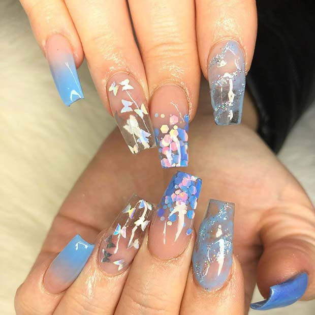 Clear Jelly Nails with Butterflies