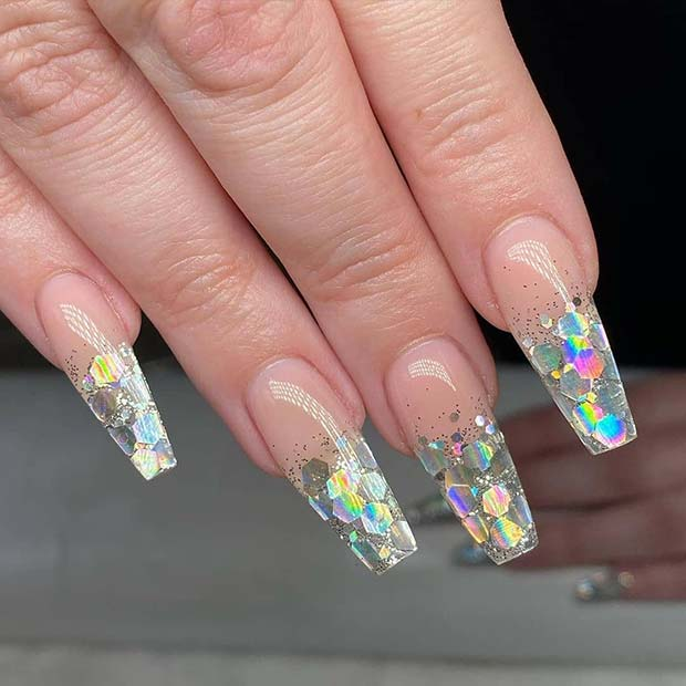 Clear Jelly Nails with Silver Sparkle